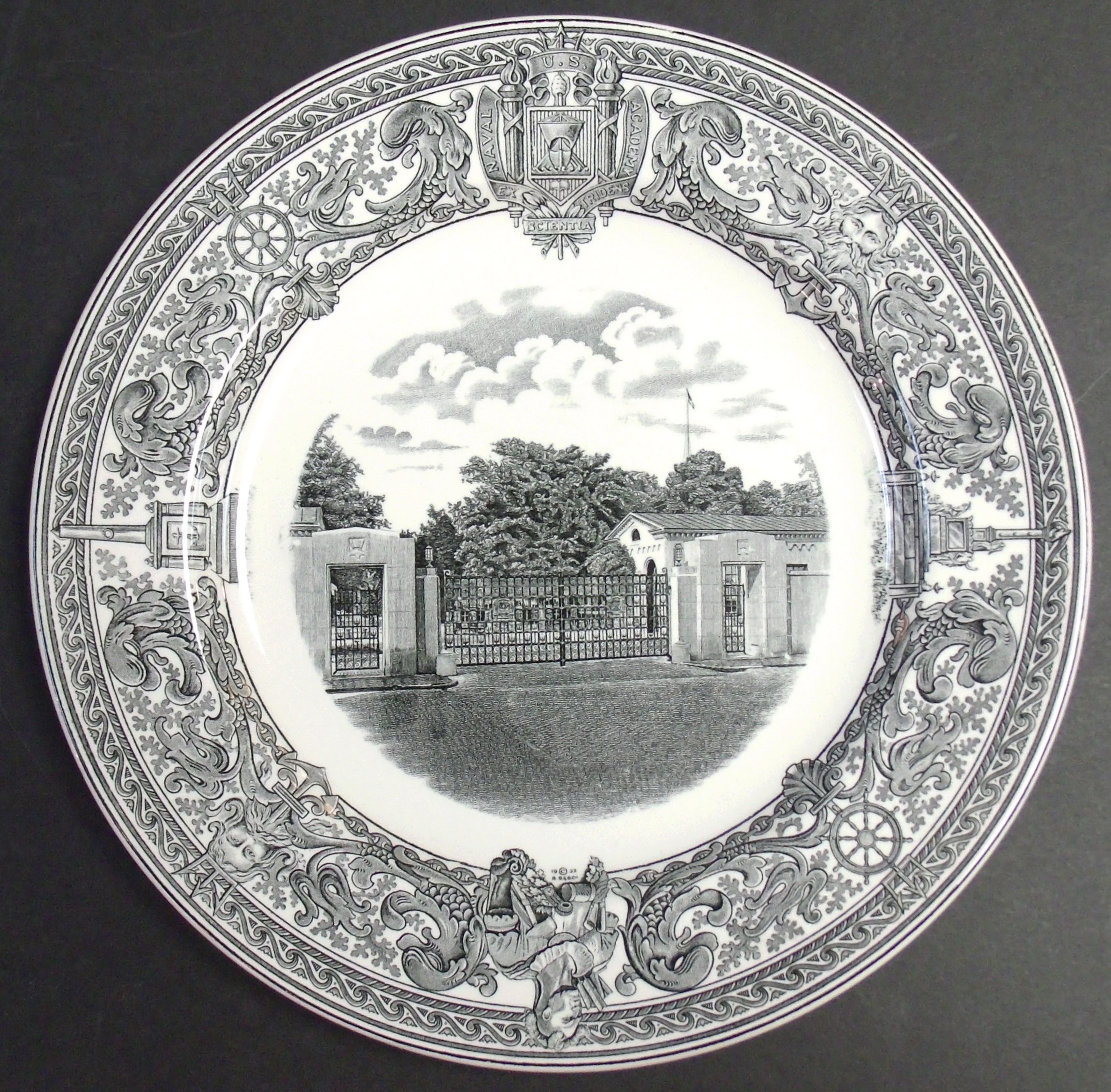 SET OF 6 SPODE 1932 United States US NAVAL ACADEMY Black \u0026 White DINNER PLATES & SET OF 6 SPODE 1932 United States US NAVAL ACADEMY Black \u0026 White ...