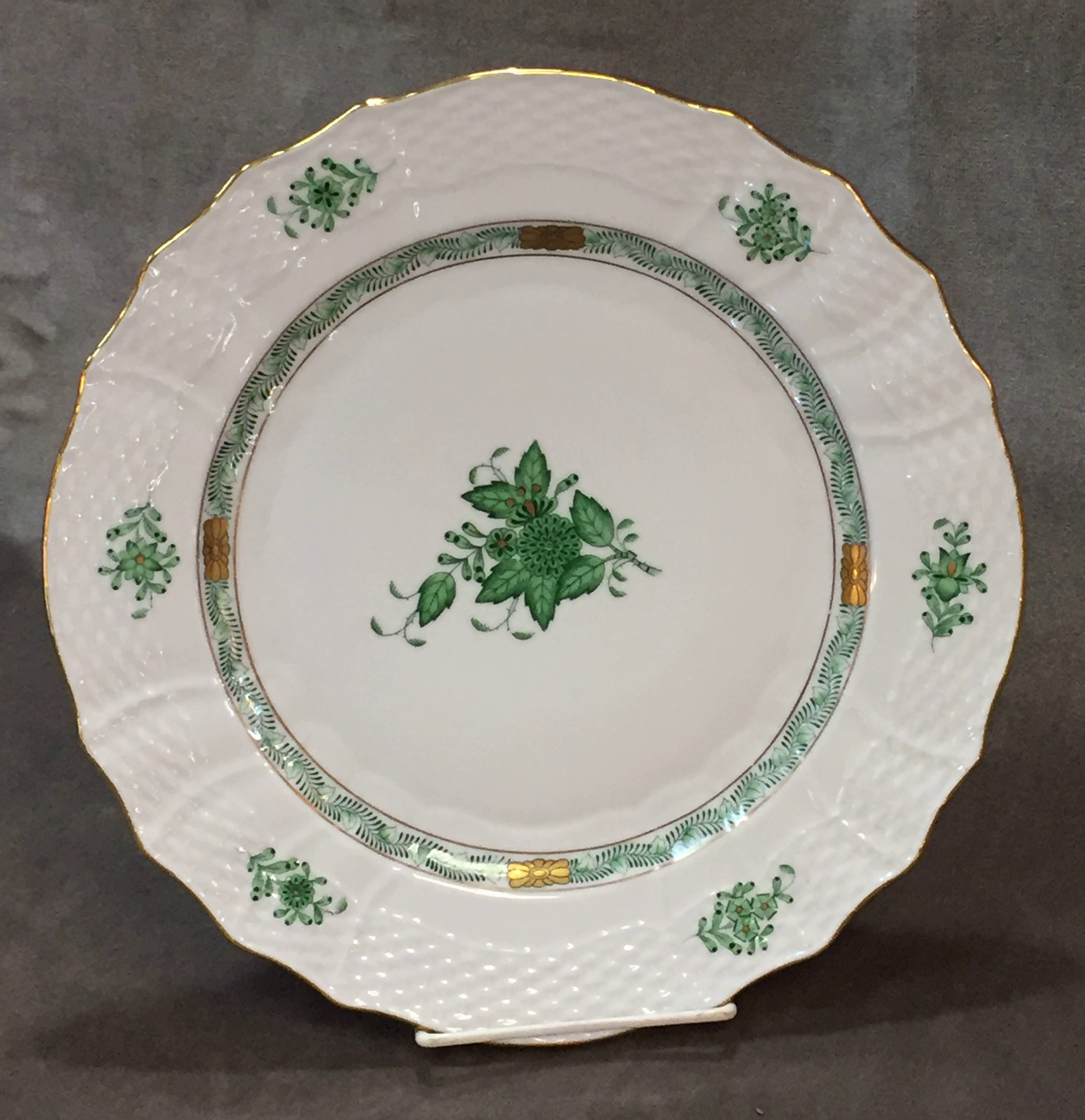Herend Hungary Green CHINESE BOUQUET 11  Charger / Dinner Plate Hungarian Dinnerware & Herend Hungary Green CHINESE BOUQUET 11
