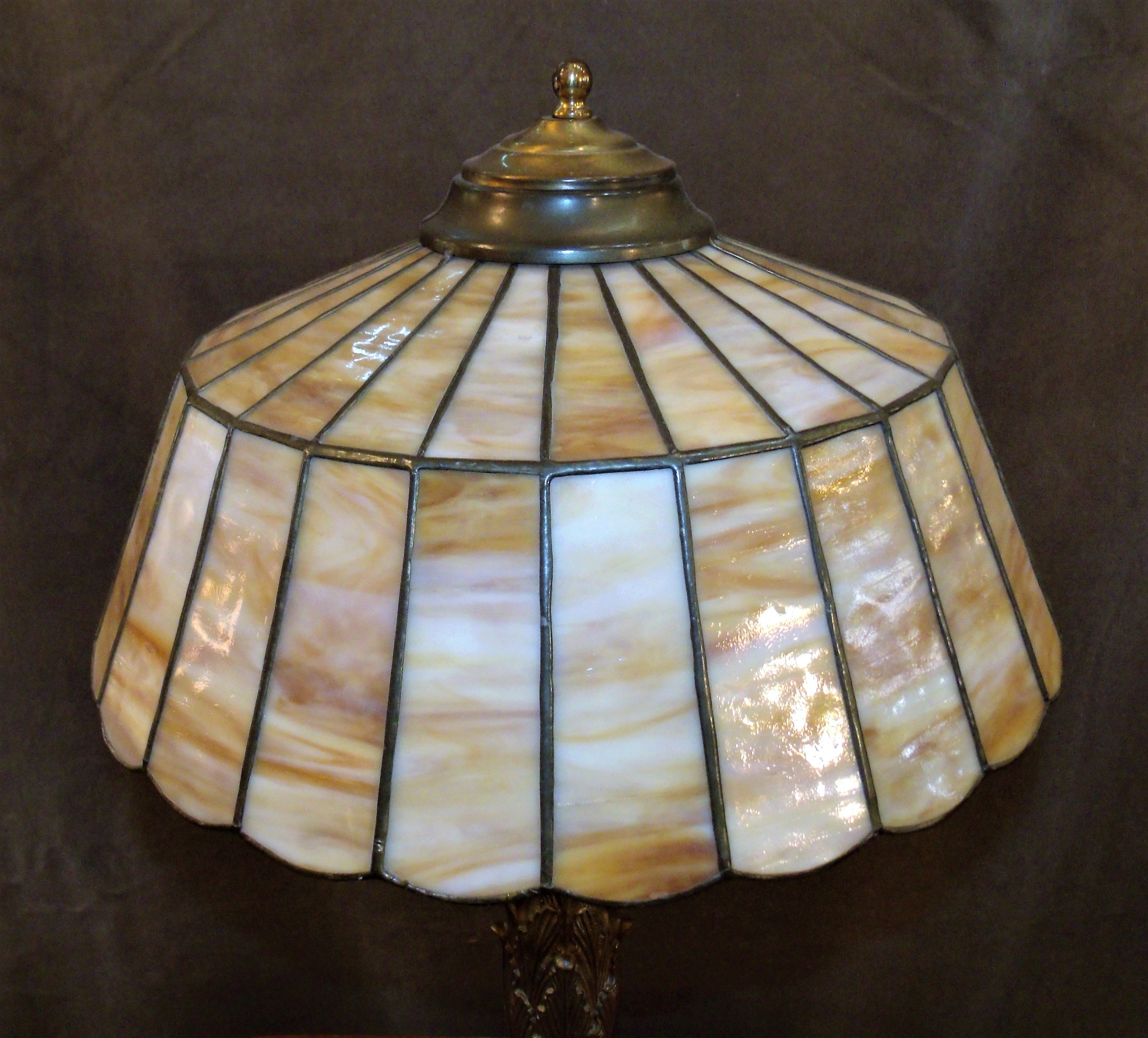 Original Pittsburgh Art Nouveau Bronze Table Lamp W Leaded Slag Glass Shade