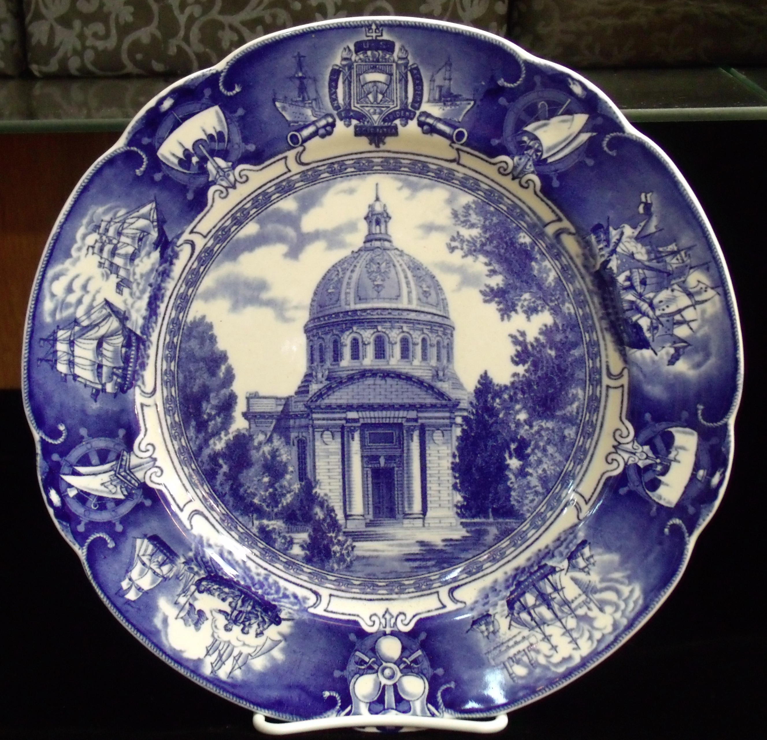 Antiques Us: SET OF 12 Wedgwood US Naval Academy Blue Plates Chapel